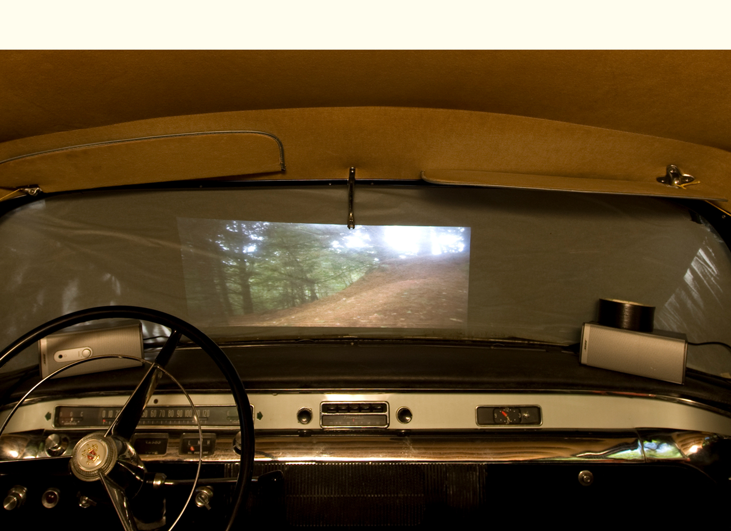 Patrick von Boeckel, Objects may seem closer than they appear (Drive-in movie installation in 1954 Buick), 2009